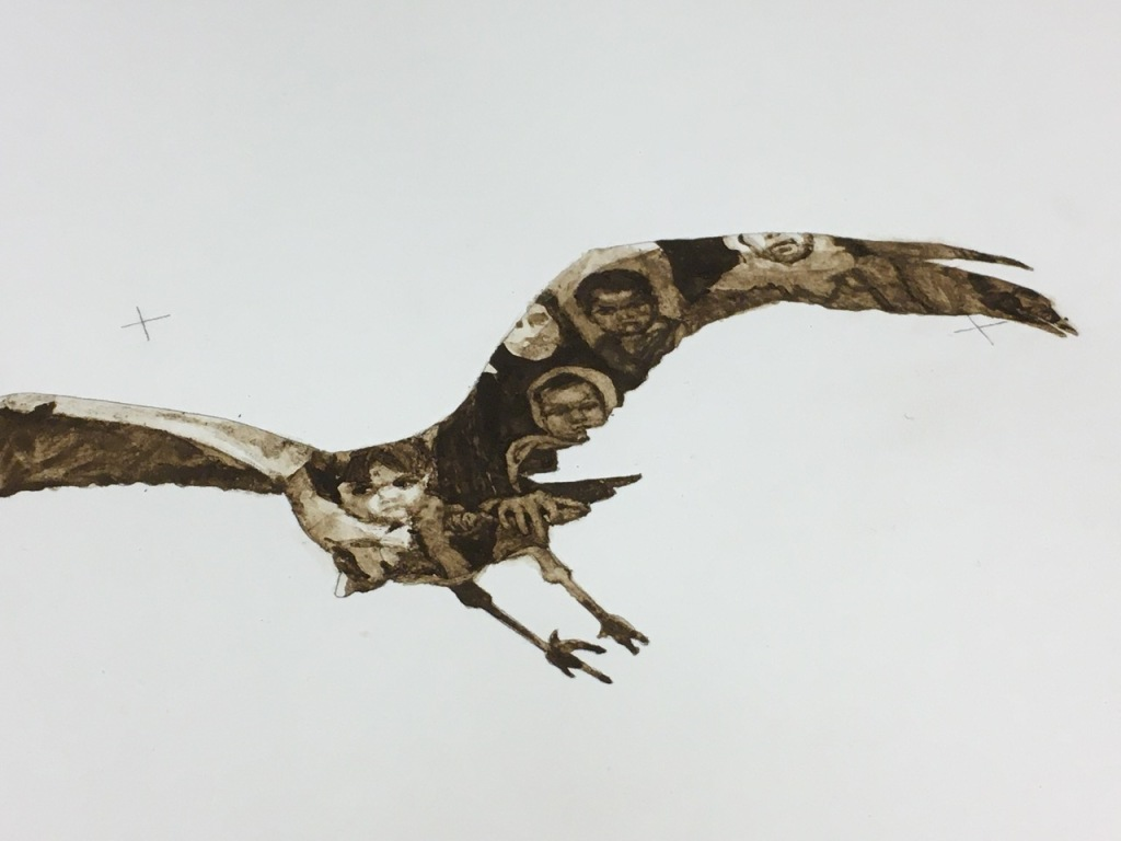 Photograph of a drawing combining the silhouette of a Eurasian crane in flight with a fragment of a family photograph, drawn using peat soils