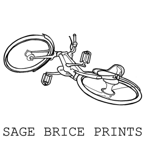 Drawing of a broken hire bicycle. Links to print shop